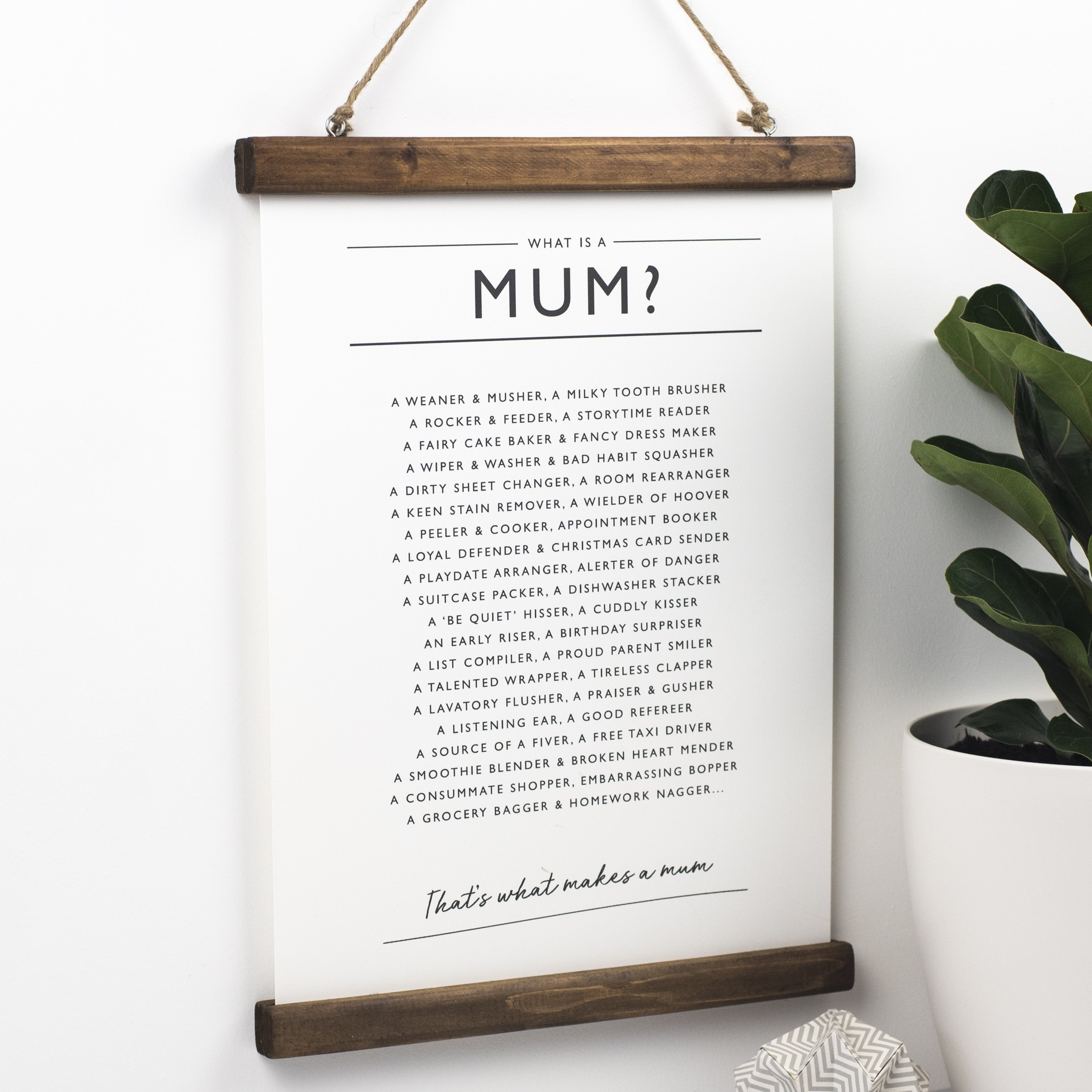"""What Is A Mum"" Poem Typographic Print by Bespoke Verse"