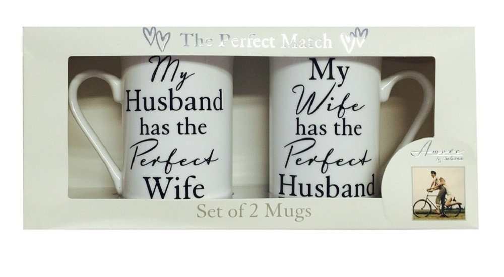 The Perfect Match Husband/Wife China Mug Gift Set