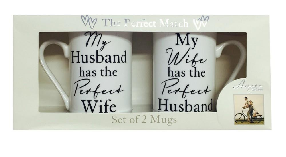 The Perfect Match Husband/Wife China Mug Gift Set