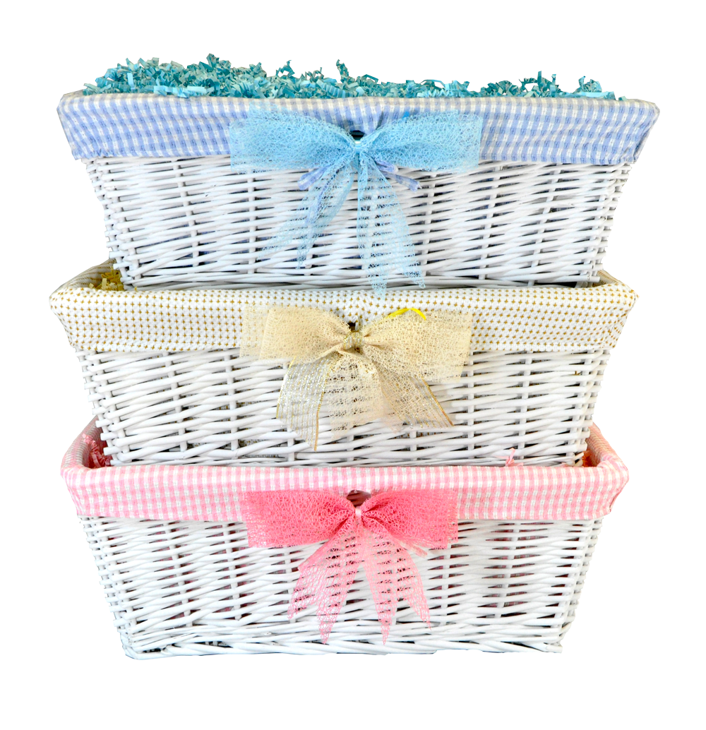Empty White Wicker Large Baby Basket