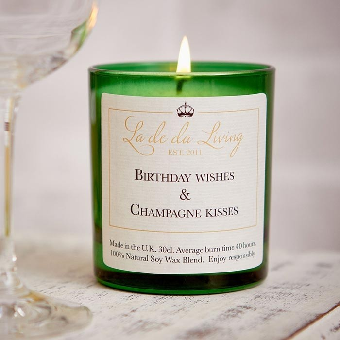 'Birthday Wishes and Champagne Kisses' Pop Candle by La De Dah Living UK