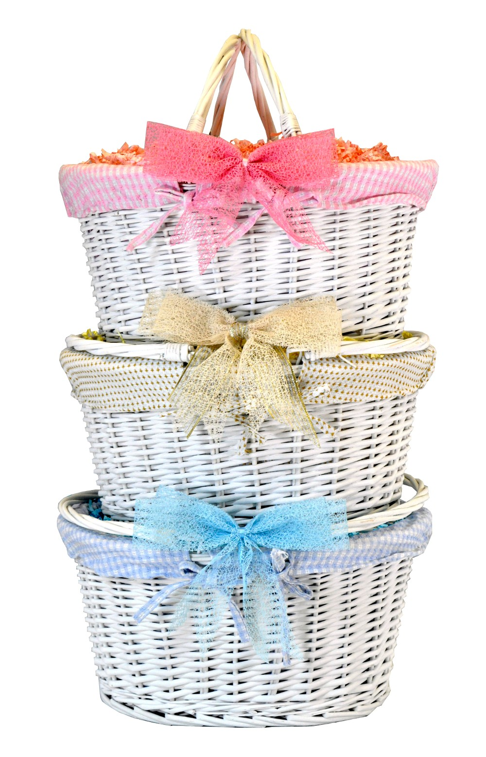 White Shopper Basket with Gift Wrap