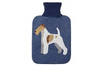 Fox Terrier Blue Knitted Hot Water Bottle with Cover by Aroma Home