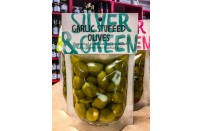 Silver and Green Garlic Stuffed Olives