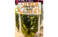 Silver and Green Thyme Bay Olives