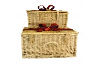 Wicker Hamper With Leather Straps